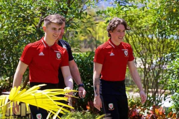 Wales' Ben Woodburn and Harry Wilson during a team walk at the Wanda Realm Resort ahead of the 2018 Gree China Cup International Football Championship. (Pic by David Rawcliffe/Propaganda)