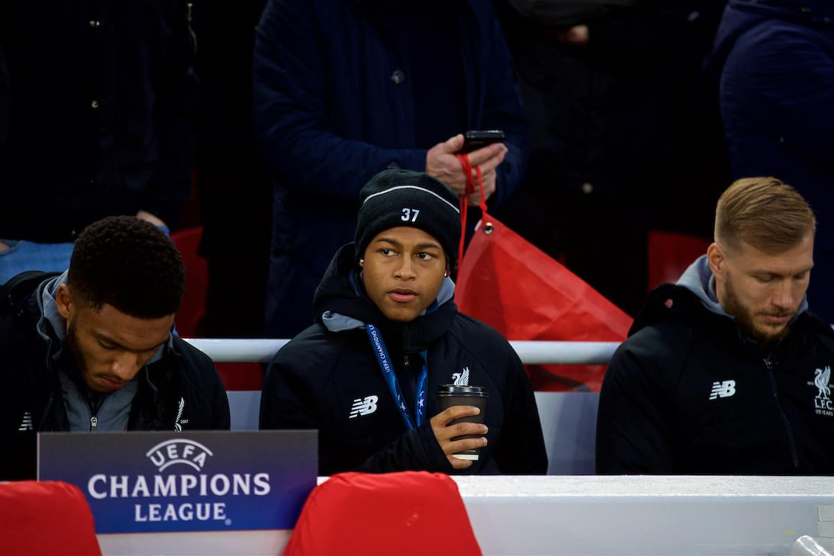 LIVERPOOL, ENGLAND - Wednesday, April 4, 2018: Liverpool's unused player Rhian Brewster before the UEFA Champions League Quarter-Final 1st Leg match between Liverpool FC and Manchester City FC at Anfield. (Pic by David Rawcliffe/Propaganda)