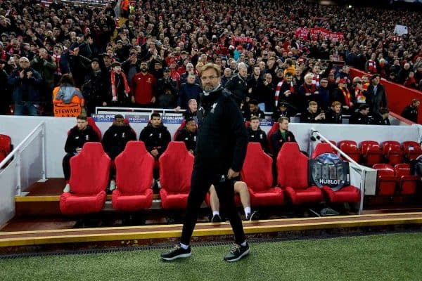 LIVERPOOL, ENGLAND - Wednesday, April 4, 2018: Liverpool's manager Jürgen Klopp before the UEFA Champions League Quarter-Final 1st Leg match between Liverpool FC and Manchester City FC at Anfield. (Pic by David Rawcliffe/Propaganda)