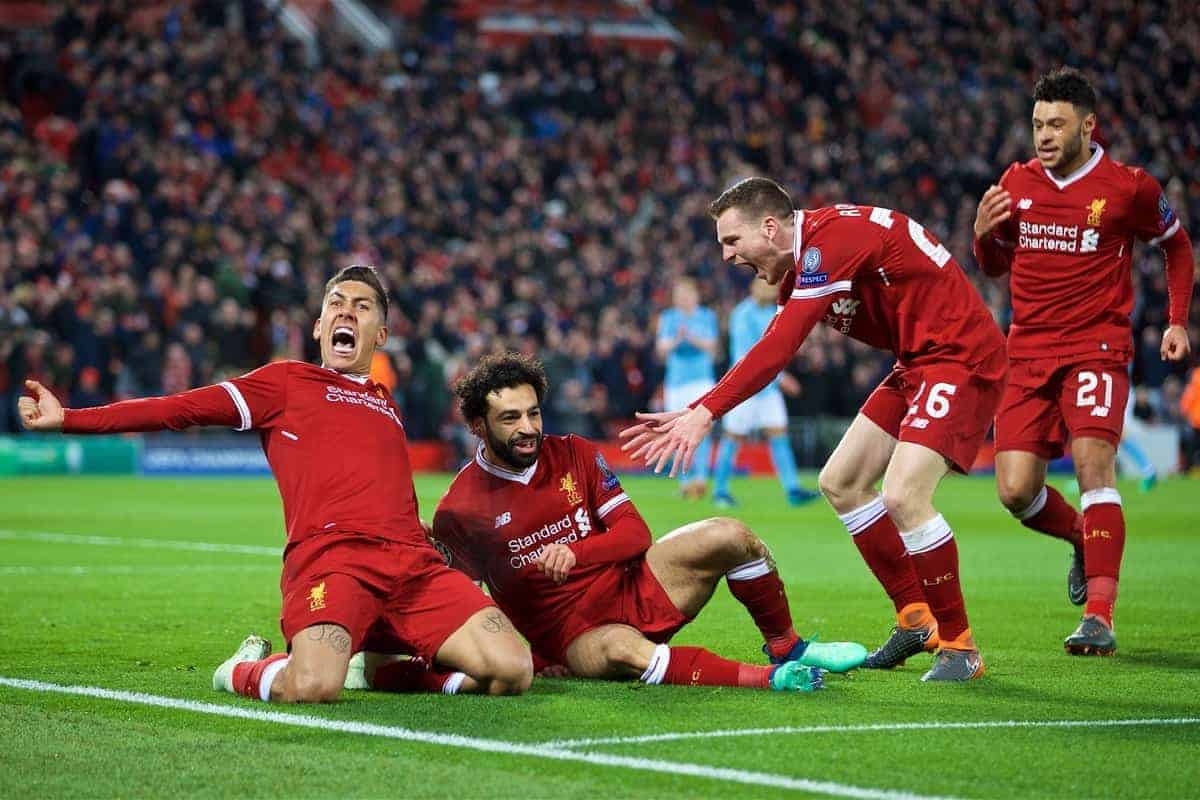 LIVERPOOL, ENGLAND - Wednesday, April 4, 2018: Liverpool's Mohamed Salah celebrates scoring the first goal with team-mates Roberto Firmino and Andy Robertson during the UEFA Champions League Quarter-Final 1st Leg match between Liverpool FC and Manchester City FC at Anfield. (Pic by David Rawcliffe/Propaganda)