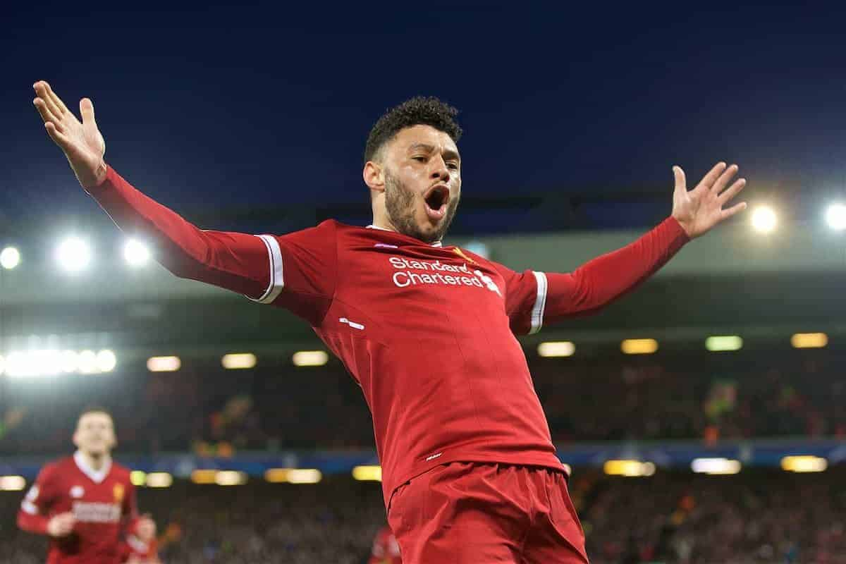 Liverpool's Alex Oxlade-Chamberlain celebrates scoring the second goal during the UEFA Champions League Quarter-Final 1st Leg match between Liverpool FC and Manchester City FC at Anfield. (Pic by David Rawcliffe/Propaganda)