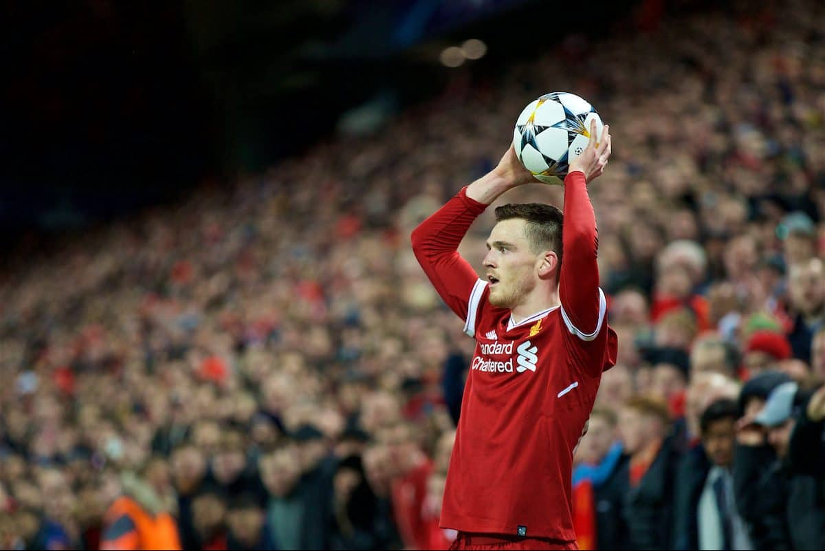 LIVERPOOL, ENGLAND - Wednesday, April 4, 2018: Liverpool's Andy Robertson takes a throw-in during the UEFA Champions League Quarter-Final 1st Leg match between Liverpool FC and Manchester City FC at Anfield. (Pic by David Rawcliffe/Propaganda)