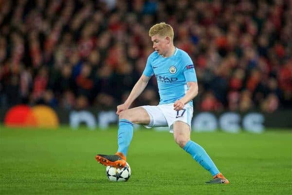LIVERPOOL, ENGLAND - Wednesday, April 4, 2018: Manchester City's Kevin De Bruyne during the UEFA Champions League Quarter-Final 1st Leg match between Liverpool FC and Manchester City FC at Anfield. (Pic by David Rawcliffe/Propaganda)