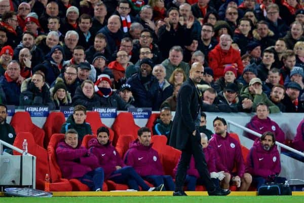 LIVERPOOL, ENGLAND - Wednesday, April 4, 2018: Manchester City's manager Pep Guardiola during the UEFA Champions League Quarter-Final 1st Leg match between Liverpool FC and Manchester City FC at Anfield. (Pic by David Rawcliffe/Propaganda)