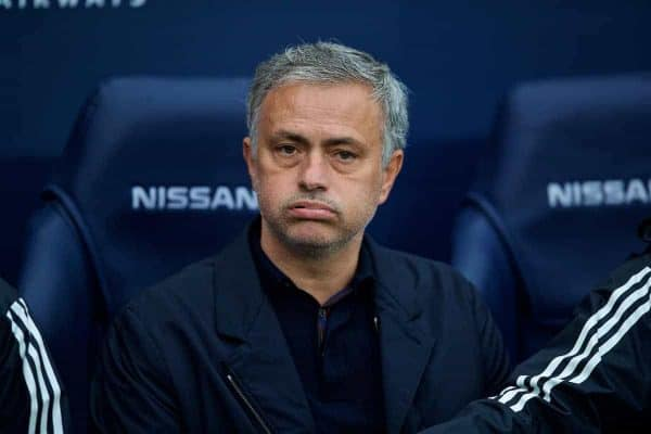 Manchester United's manager Jose Mourinho looks miserable before the FA Premier League match between Manchester City FC and Manchester United FC at the City of Manchester Stadium. (Pic by David Rawcliffe/Propaganda)