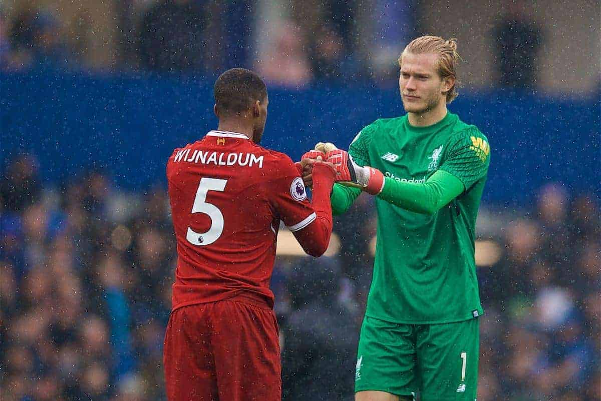 LIVERPOOL, ENGLAND - Saturday, April 7, 2018: Liverpool's goalkeeper Loris Karius (right) and Georginio Wijnaldum before the FA Premier League match between Everton and Liverpool, the 231st Merseyside Derby, at Goodison Park. (Pic by David Rawcliffe/Propaganda)