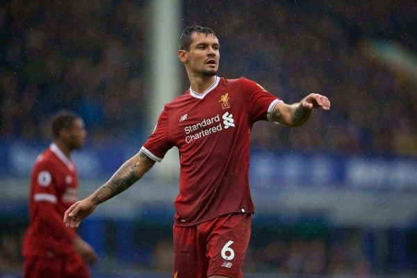 Liverpool's Dejan Lovren during the FA Premier League match between Everton and Liverpool, the 231st Merseyside Derby, at Goodison Park. (Pic by David Rawcliffe/Propaganda)