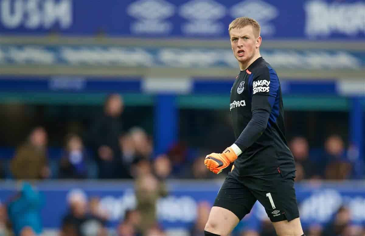 Everton's goalkeeper Jordan Pickford during the FA Premier League match between Everton and Liverpool, the 231st Merseyside Derby, at Goodison Park. (Pic by David Rawcliffe/Propaganda)