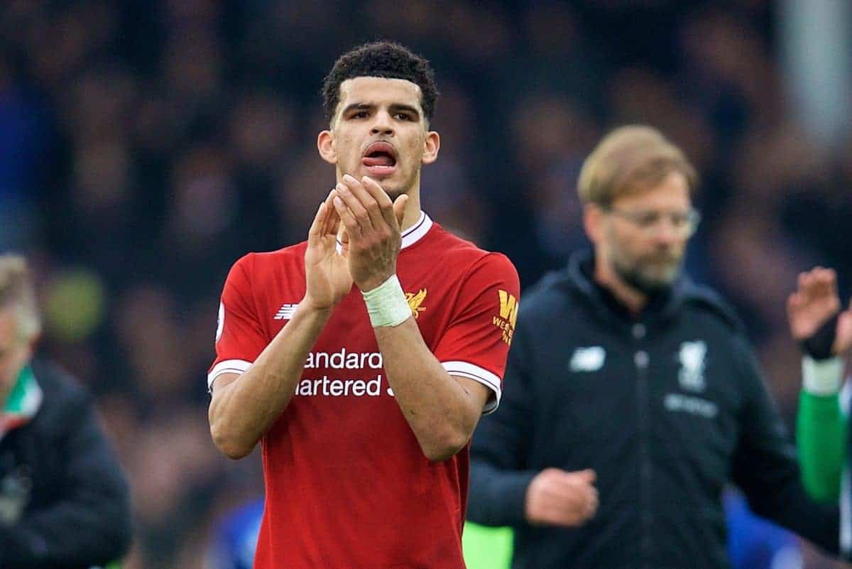 LIVERPOOL, ENGLAND - Saturday, April 7, 2018: Liverpool's Dominic Solanke applauds the supporters after the goal-less draw during the FA Premier League match between Everton and Liverpool, the 231st Merseyside Derby, at Goodison Park. (Pic by David Rawcliffe/Propaganda)