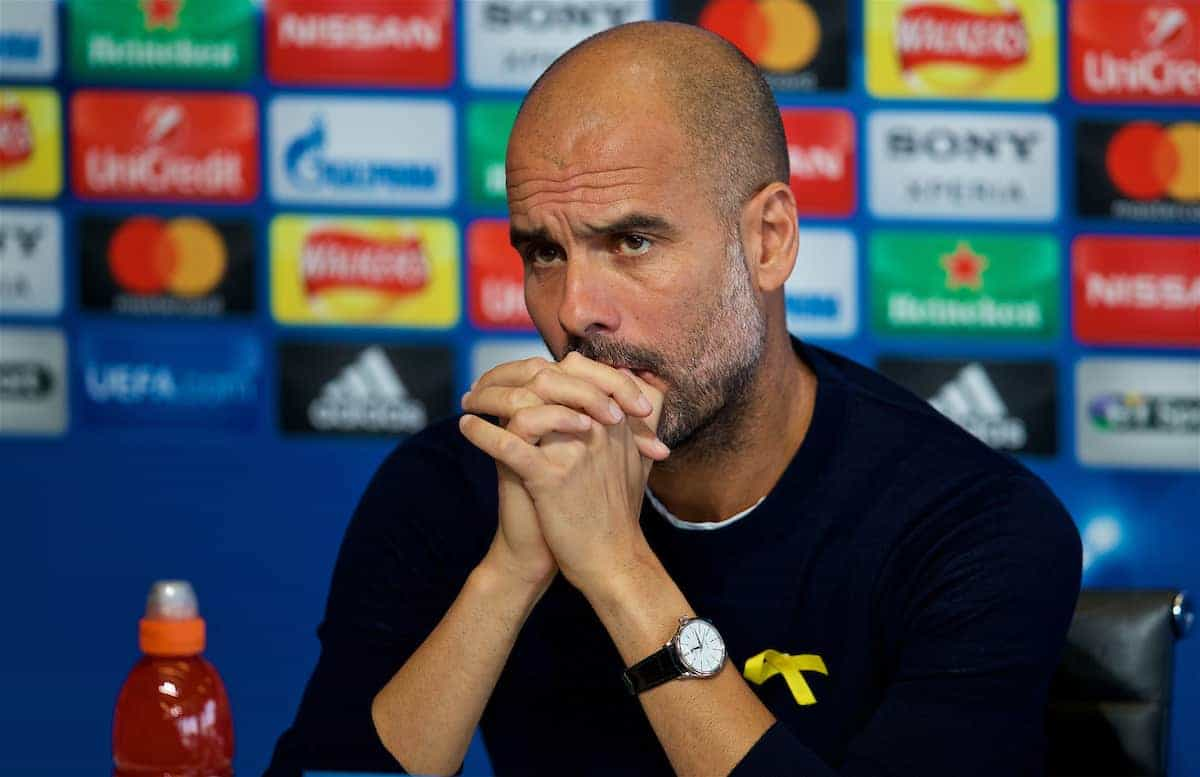 MANCHESTER, ENGLAND - Monday, April 9, 2018: Manchester City's manager Pep Guardiola during a press conference at the City Football Academy ahead of the UEFA Champions League Quarter-Final 2nd Leg match between Manchester City FC and Liverpool FC. (Pic by David Rawcliffe/Propaganda)