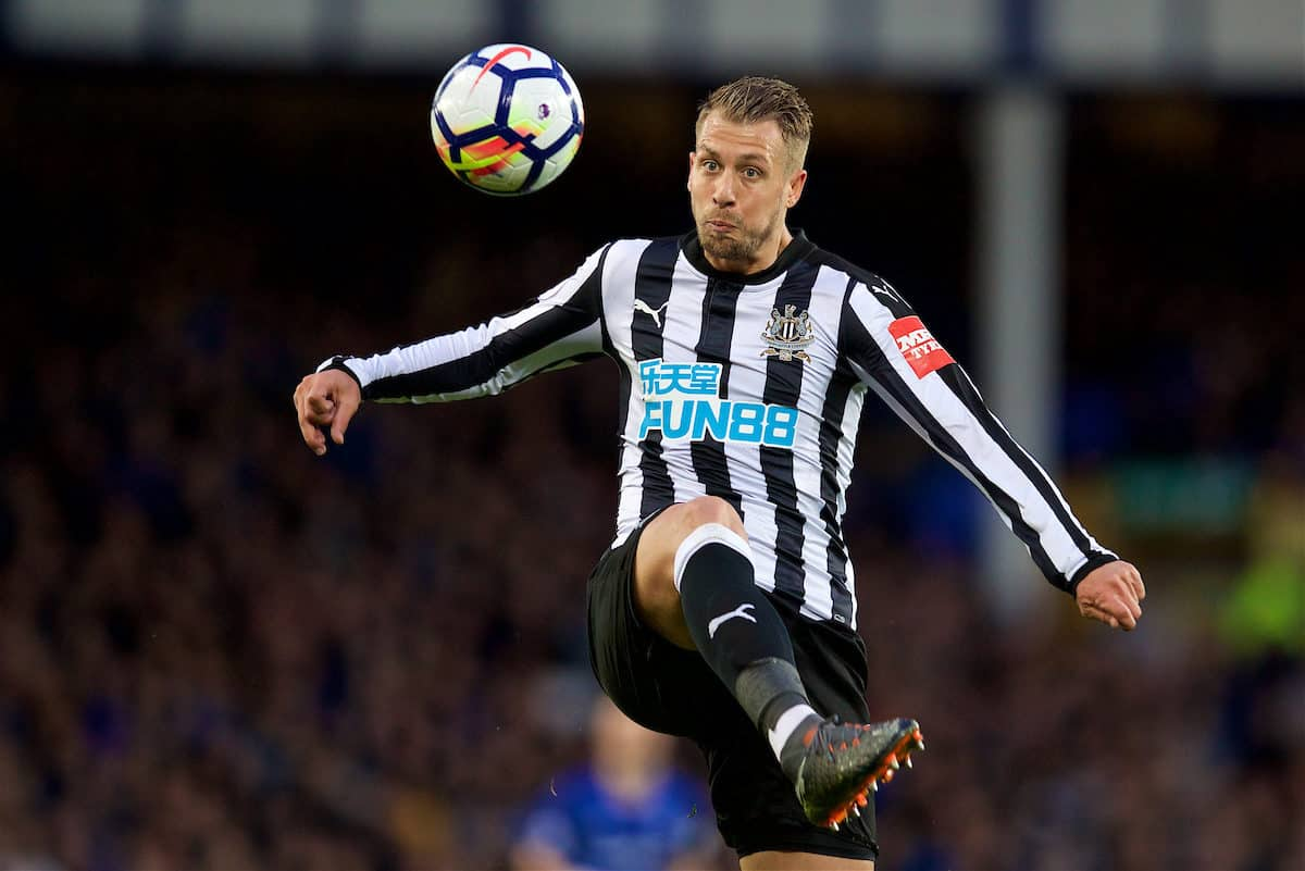 LIVERPOOL, ENGLAND - Monday, April 23, 2018: Newcastle United's Florian Lejeune during the FA Premier League match between Everton and Newcastle United at Goodison Park. (Pic by David Rawcliffe/Propaganda)