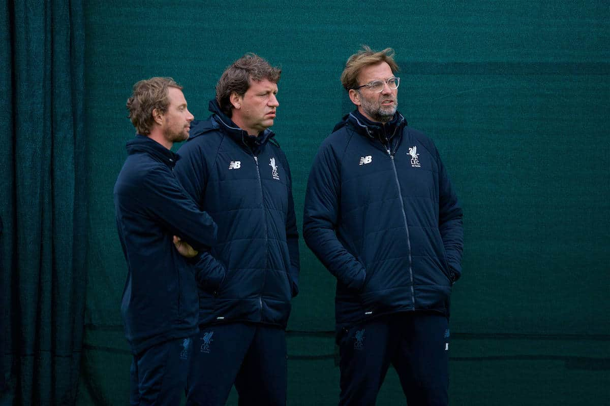 LIVERPOOL, ENGLAND - Monday, April 23, 2018: Liverpool's manager Jürgen Klopp (right) with first team coach Peter Krawietz (centre) during a training session at Melwood Training Ground ahead of the UEFA Champions League Semi-Final 1st Leg match between Liverpool FC and AS Roma. (Pic by David Rawcliffe/Propaganda)