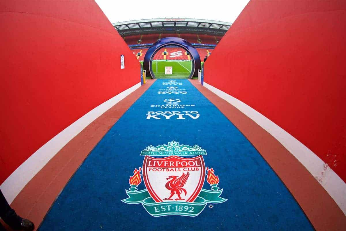 LIVERPOOL, ENGLAND - Tuesday, April 24, 2018: Champions League branding before the UEFA Champions League Semi-Final 1st Leg match between Liverpool FC and AS Roma at Anfield. (Pic by David Rawcliffe/Propaganda)