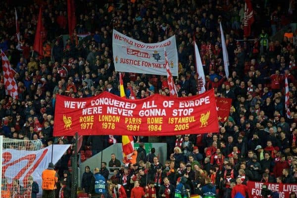 LIVERPOOL, ENGLAND - Tuesday, April 24, 2018: Liverpool supporters on the Spion Kop before the UEFA Champions League Semi-Final 1st Leg match between Liverpool FC and AS Roma at Anfield. We've conquered all of Europe. (Pic by David Rawcliffe/Propaganda)