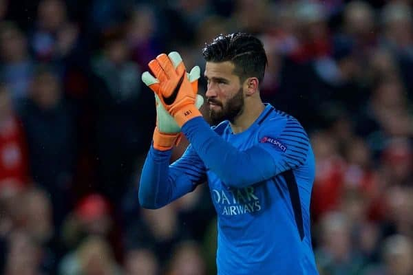 LIVERPOOL, ENGLAND - Tuesday, April 24, 2018: AS Romaís goalkeeper Alisson Becker applauds the Liverpool supporters during the UEFA Champions League Semi-Final 1st Leg match between Liverpool FC and AS Roma at Anfield. (Pic by David Rawcliffe/Propaganda)