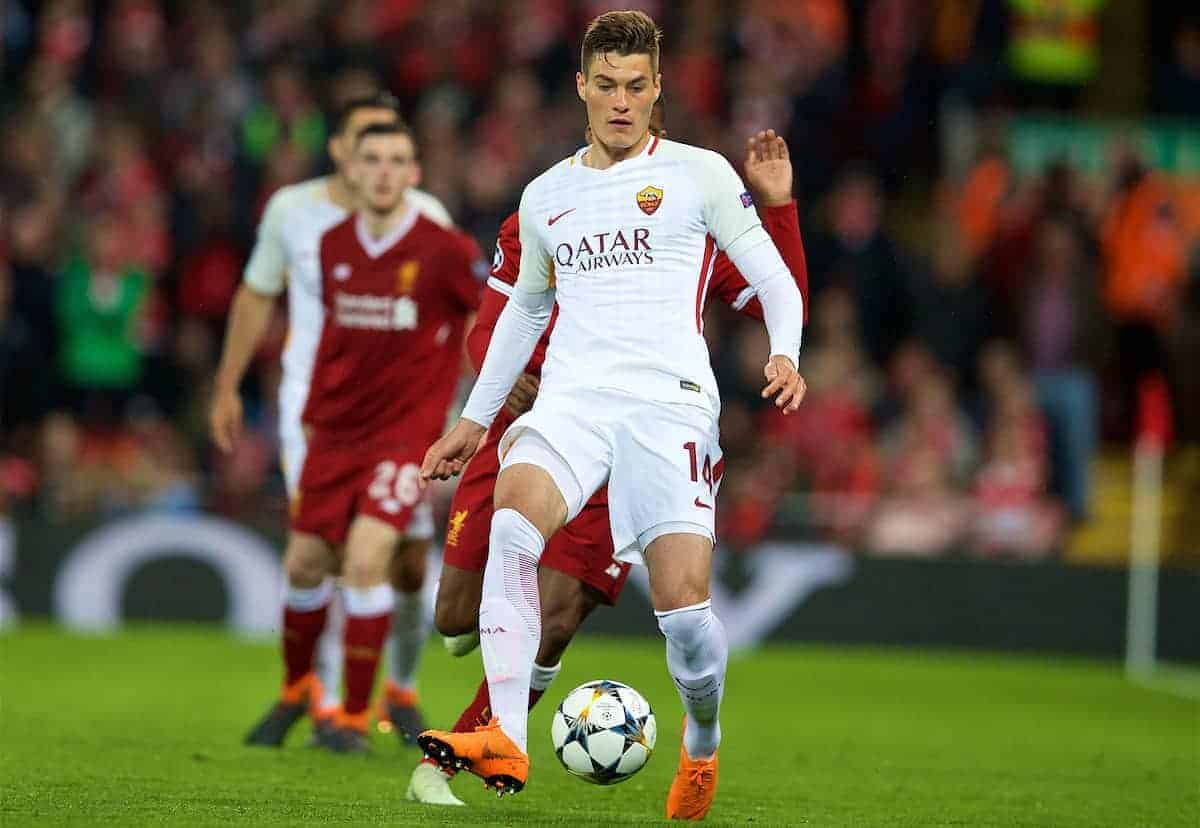 LIVERPOOL, ENGLAND - Tuesday, April 24, 2018: AS Romaís Patrik Schick during the UEFA Champions League Semi-Final 1st Leg match between Liverpool FC and AS Roma at Anfield. (Pic by David Rawcliffe/Propaganda)