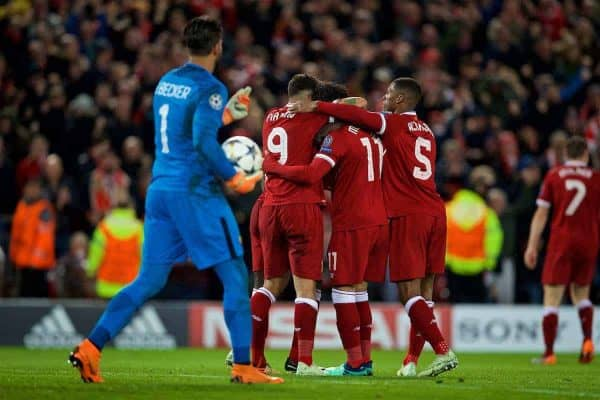 LIVERPOOL, ENGLAND - Tuesday, April 24, 2018: Liverpool's Sadio Mane scores the third goal with team-mates during the UEFA Champions League Semi-Final 1st Leg match between Liverpool FC and AS Roma at Anfield. (Pic by David Rawcliffe/Propaganda)