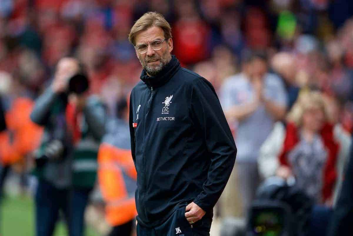 LIVERPOOL, ENGLAND - Saturday, April 28, 2018: Liverpool's manager Jürgen Klopp before the FA Premier League match between Liverpool FC and Stoke City FC at Anfield. (Pic by David Rawcliffe/Propaganda)
