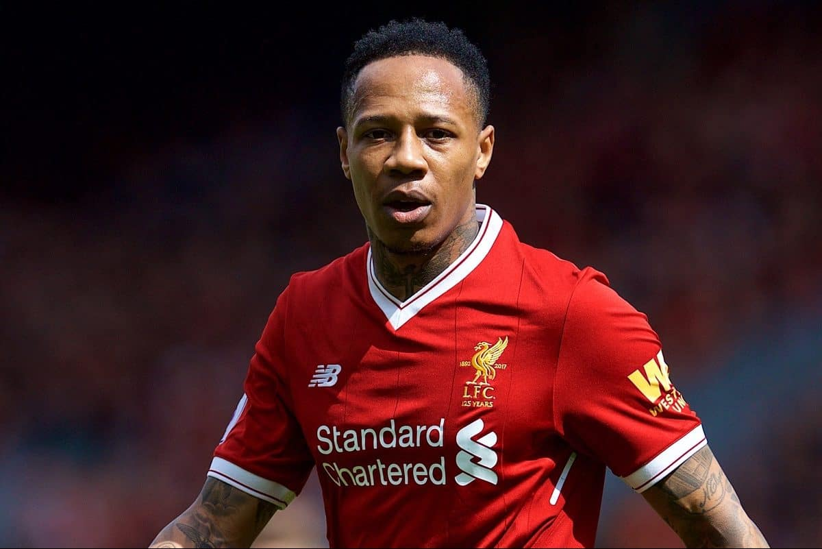LIVERPOOL, ENGLAND - Saturday, April 28, 2018: Liverpool's Nathaniel Clyne during the FA Premier League match between Liverpool FC and Stoke City FC at Anfield. (Pic by David Rawcliffe/Propaganda)