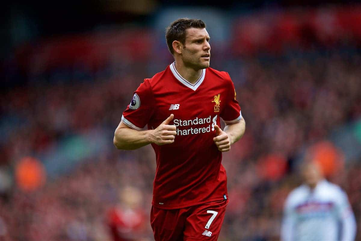 LIVERPOOL, ENGLAND - Saturday, April 28, 2018: Liverpool's James Milner during the FA Premier League match between Liverpool FC and Stoke City FC at Anfield. (Pic by David Rawcliffe/Propaganda)