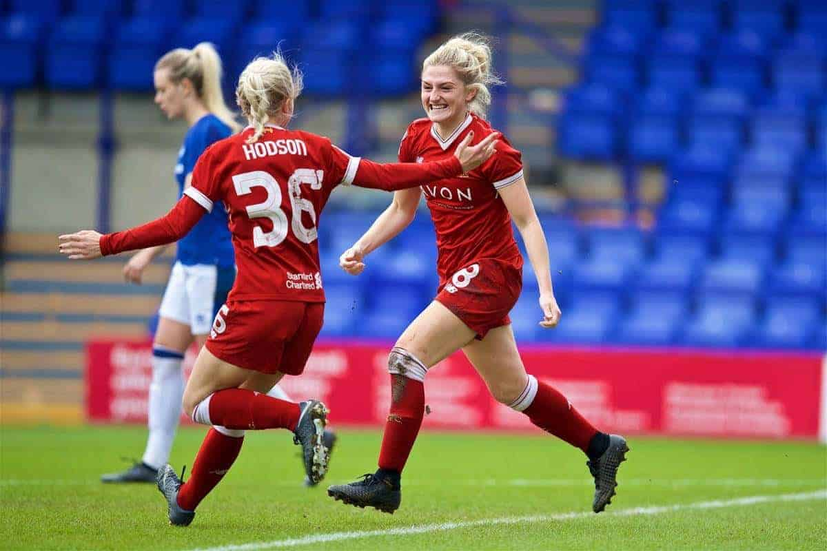 BIRKENHEAD, ENGLAND - Sunday, April 29, 2018: Liverpool's Laura Coombs celebrates scoring the first goal during the FA Women's Super League 1 match between Liverpool FC Ladies and Everton FC Ladies at Prenton Park. (Pic by David Rawcliffe/Propaganda)