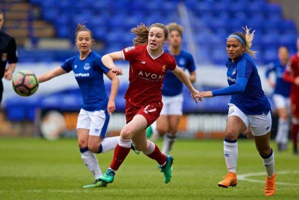 BIRKENHEAD, ENGLAND - Sunday, April 29, 2018: Liverpool's Niamh Charles during the FA Women's Super League 1 match between Liverpool FC Ladies and Everton FC Ladies at Prenton Park. (Pic by David Rawcliffe/Propaganda)