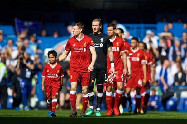 LONDON, ENGLAND - Sunday, May 6, 2018: Liverpool's captain James Milner leads his side out to face Chelsea before the FA Premier League match between Chelsea FC and Liverpool FC at Stamford Bridge. (Pic by David Rawcliffe/Propaganda)