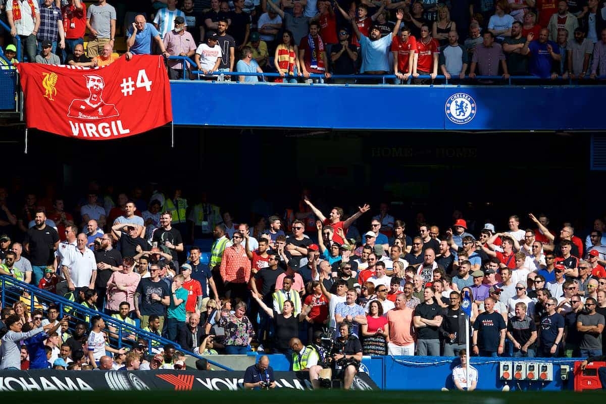 LONDON, ENGLAND - Sunday, May 6, 2018: Liverpool supporters during the FA Premier League match between Chelsea FC and Liverpool FC at Stamford Bridge. (Pic by David Rawcliffe/Propaganda)