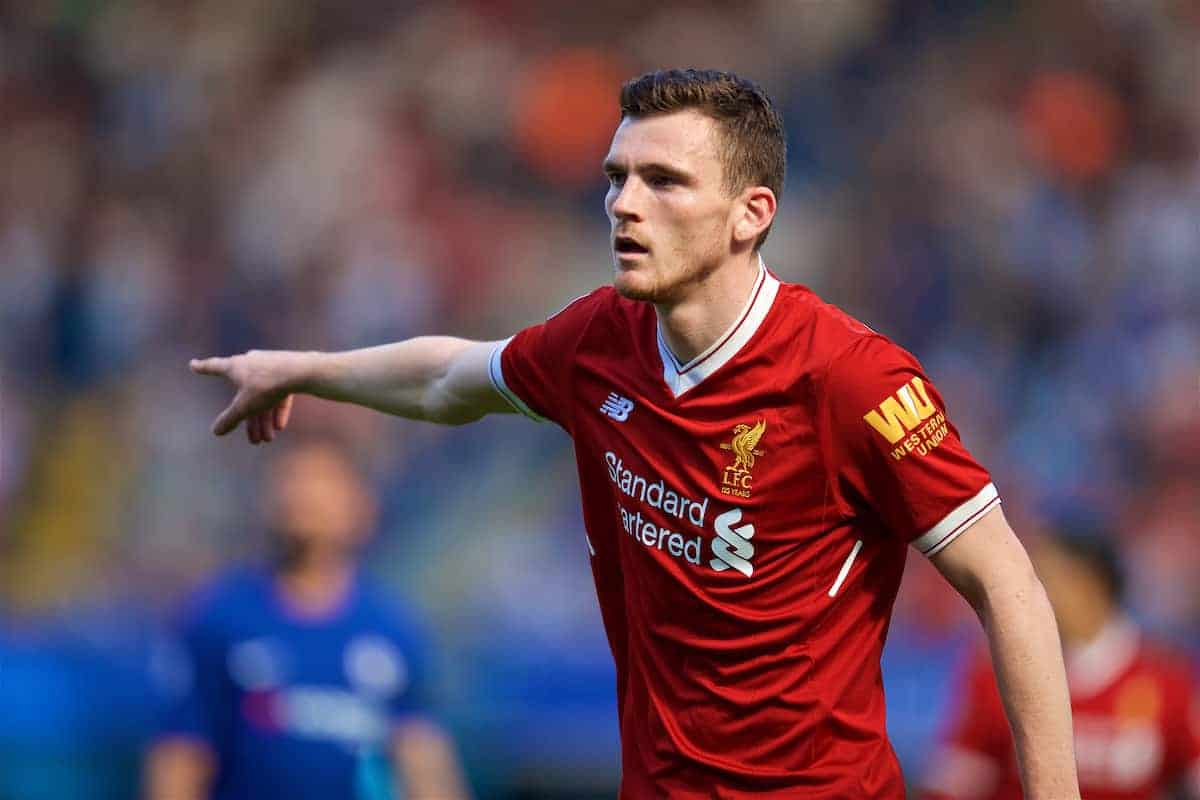 LONDON, ENGLAND - Sunday, May 6, 2018: Liverpool's Andy Robertson during the FA Premier League match between Chelsea FC and Liverpool FC at Stamford Bridge. (Pic by David Rawcliffe/Propaganda)