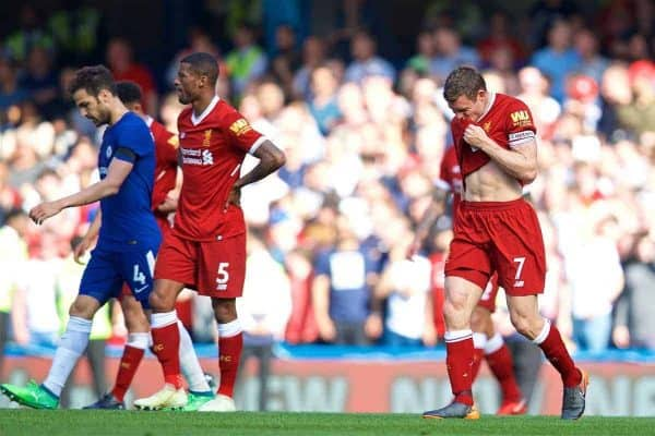 LONDON, ENGLAND - Sunday, May 6, 2018: Liverpool's captain James Milner looks dejected as Chelsea score the only goal of the game during the FA Premier League match between Chelsea FC and Liverpool FC at Stamford Bridge. (Pic by David Rawcliffe/Propaganda)