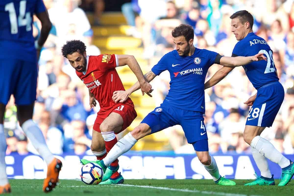 LONDON, ENGLAND - Sunday, May 6, 2018: Liverpool's Mohamed Salah (left) and Chelsea's Cesc Fabregas during the FA Premier League match between Chelsea FC and Liverpool FC at Stamford Bridge. (Pic by David Rawcliffe/Propaganda)