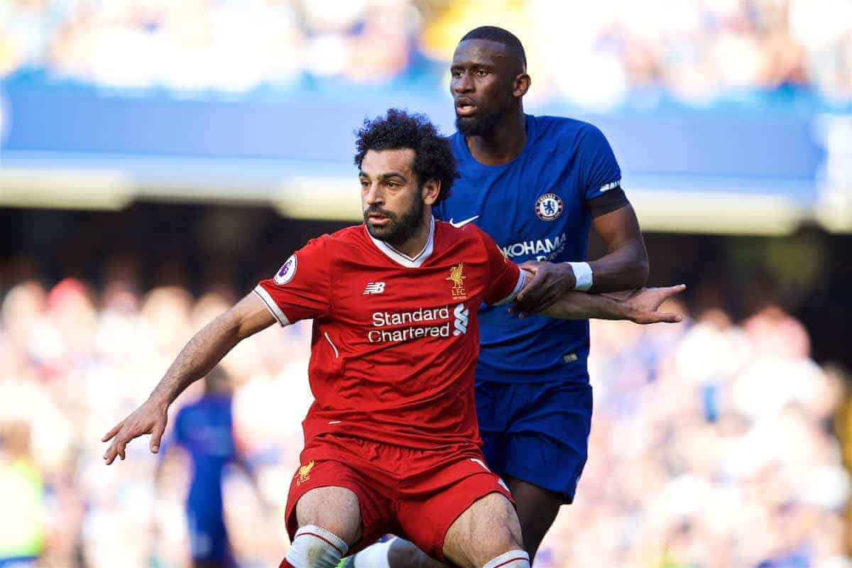 LONDON, ENGLAND - Sunday, May 6, 2018: Liverpool's Mohamed Salah and Chelsea's Antonio Rüdiger during the FA Premier League match between Chelsea FC and Liverpool FC at Stamford Bridge. (Pic by David Rawcliffe/Propaganda)