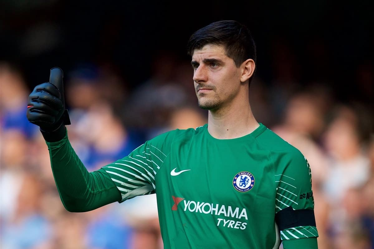 LONDON, ENGLAND - Sunday, May 6, 2018: Chelsea's goalkeeper Thibaut Courtois gives a thumbs-up during the FA Premier League match between Chelsea FC and Liverpool FC at Stamford Bridge. (Pic by David Rawcliffe/Propaganda)