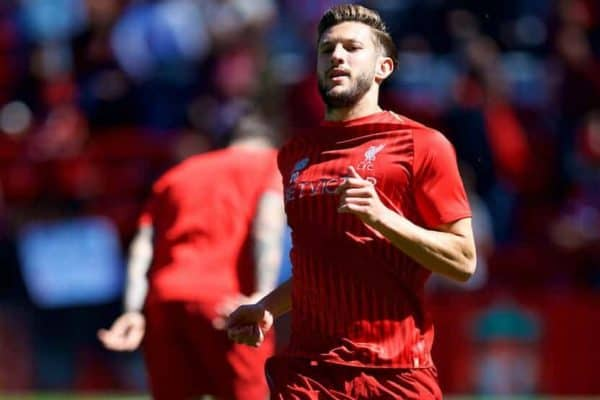 LIVERPOOL, ENGLAND - Sunday, May 13, 2018: Liverpool's Adam Lallana during the pre-match warm-up before the FA Premier League match between Liverpool FC and Brighton & Hove Albion FC at Anfield. (Pic by David Rawcliffe/Propaganda)