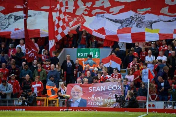 A Liverpool supporters' banner for Sean Cox during the FA Premier League match between Liverpool FC and Brighton & Hove Albion FC at Anfield. (Pic by David Rawcliffe/Propaganda)