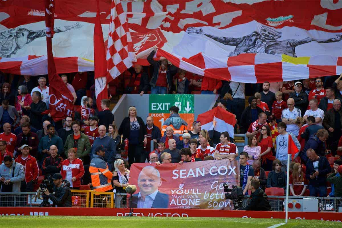 LIVERPOOL, ENGLAND - Sunday, May 13, 2018: A Liverpool supporters' banner for Sean Cox during the FA Premier League match between Liverpool FC and Brighton & Hove Albion FC at Anfield. (Pic by David Rawcliffe/Propaganda)
