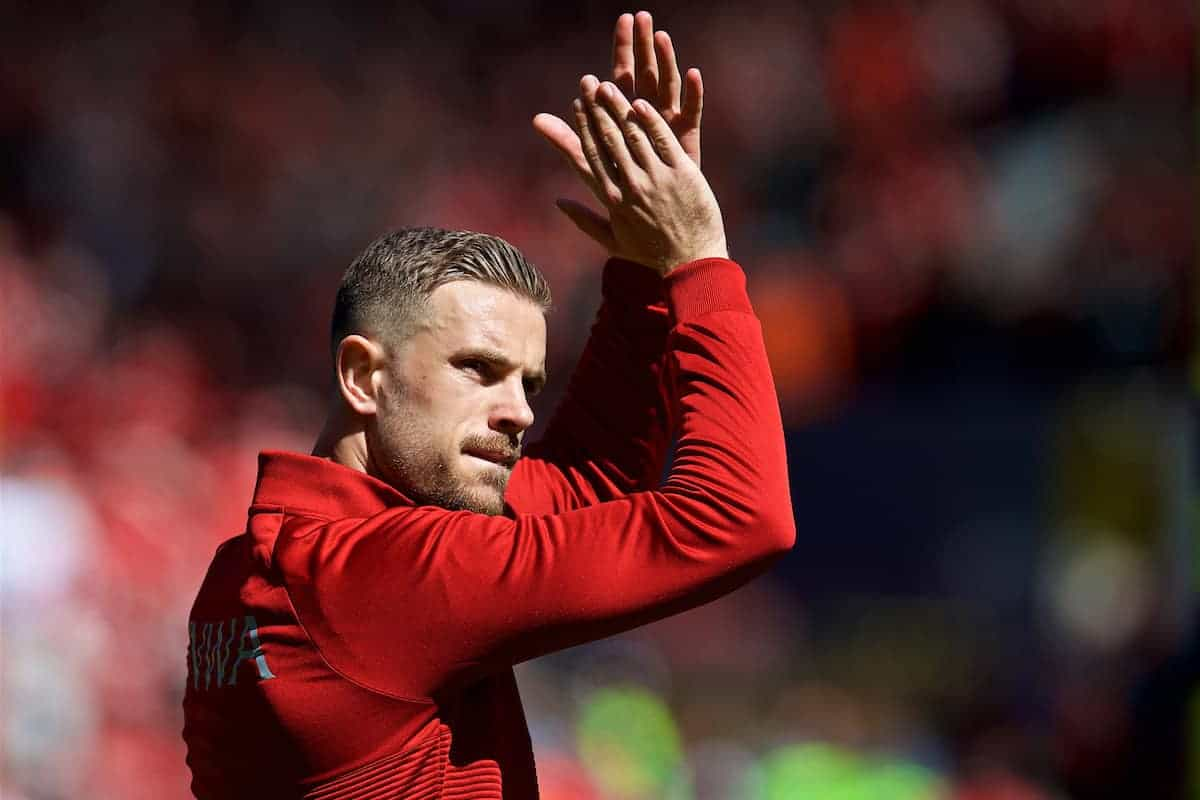 Liverpool's captain Jordan Henderson applauds the supporters before the FA Premier League match between Liverpool FC and Brighton & Hove Albion FC at Anfield. (Pic by David Rawcliffe/Propaganda)