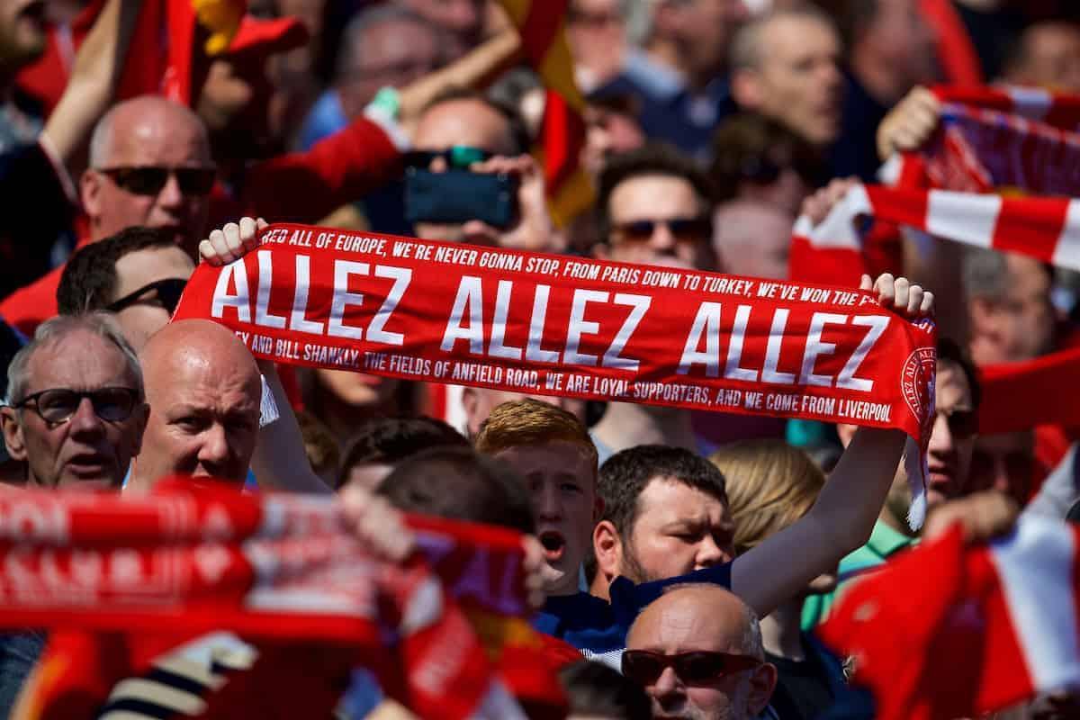 Allez scarf, Anfield, fan, supporter, general (Pic by David Rawcliffe/Propaganda)
