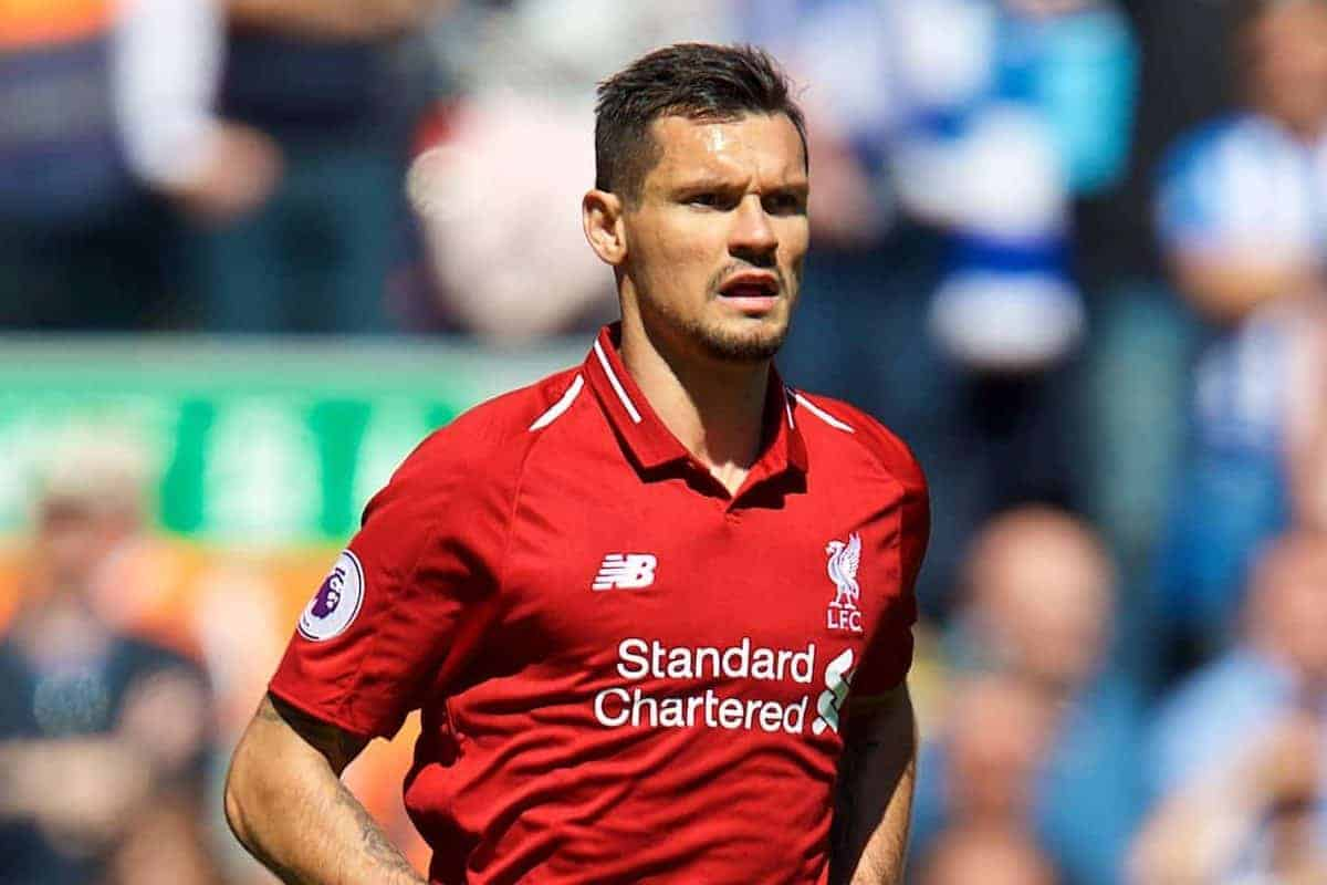LIVERPOOL, ENGLAND - Sunday, May 13, 2018: Liverpool's Dejan Lovren during the FA Premier League match between Liverpool FC and Brighton & Hove Albion FC at Anfield. (Pic by David Rawcliffe/Propaganda)