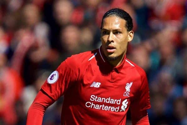 Liverpool's Virgil van Dijk during the FA Premier League match between Liverpool FC and Brighton & Hove Albion FC at Anfield. (Pic by David Rawcliffe/Propaganda)
