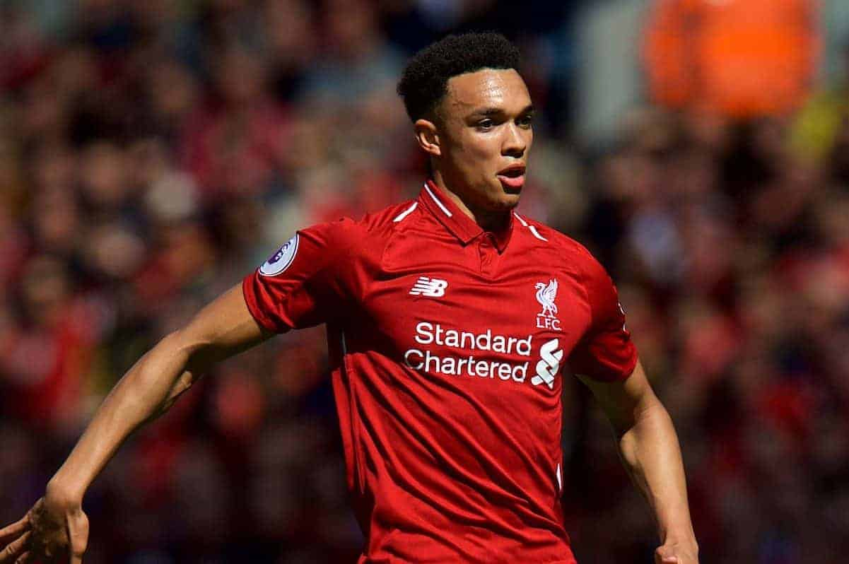 LIVERPOOL, ENGLAND - Sunday, May 13, 2018: Liverpool's Trent Alexander-Arnold during the FA Premier League match between Liverpool FC and Brighton & Hove Albion FC at Anfield. (Pic by David Rawcliffe/Propaganda)