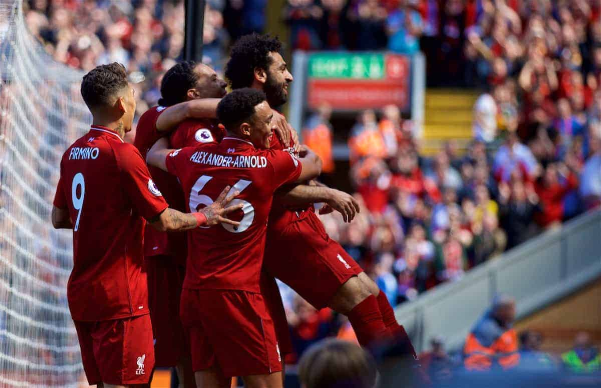 LIVERPOOL, ENGLAND - Sunday, May 13, 2018: Liverpool's Mohamed Salah celebrates with team-mate after scoring the first goal during the FA Premier League match between Liverpool FC and Brighton & Hove Albion FC at Anfield. It was his 32nd league goal of the season making him the leading scorer. Liverpool won 4-0. (Pic by David Rawcliffe/Propaganda)