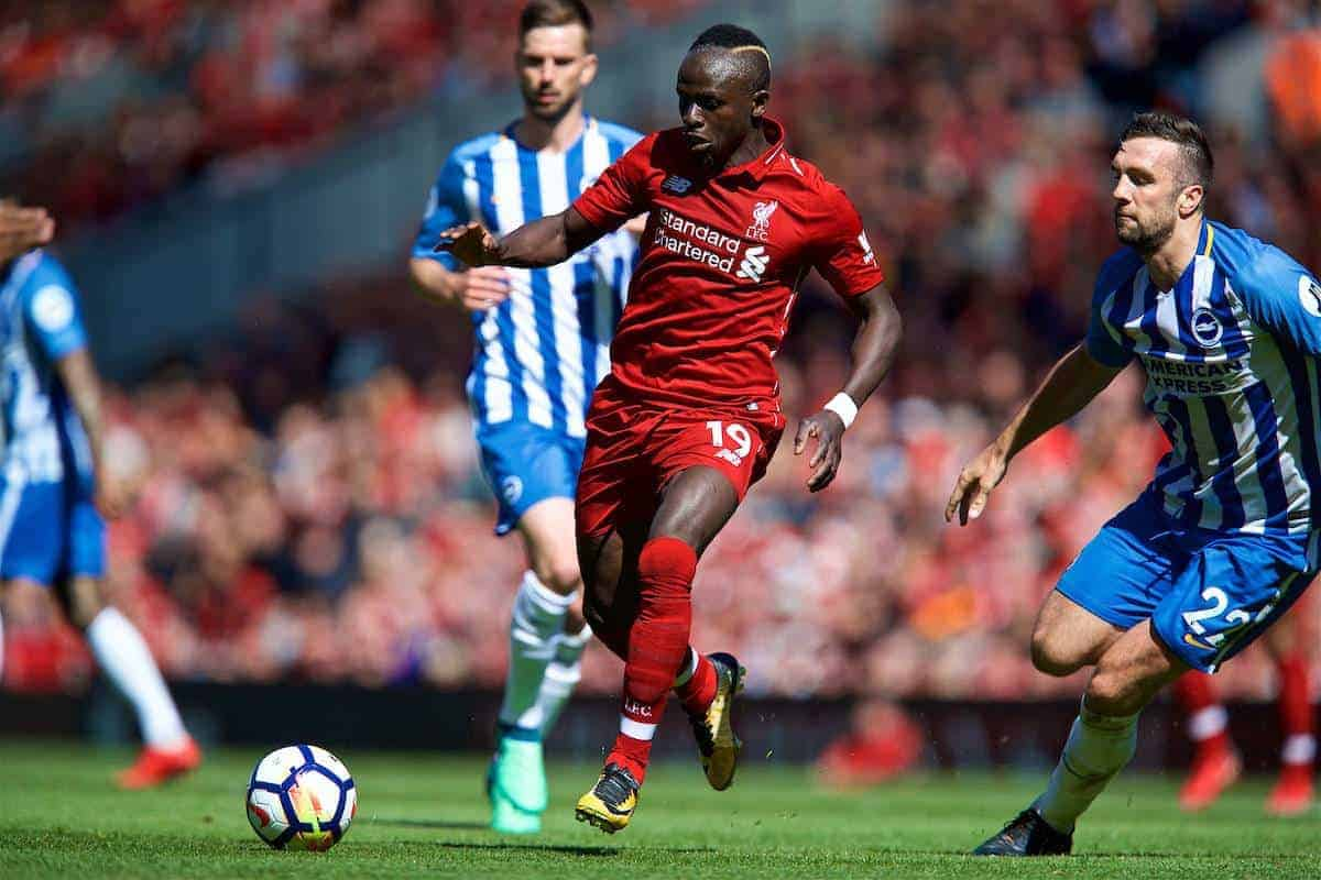 LIVERPOOL, ENGLAND - Sunday, May 13, 2018: Liverpool's Sadio Mane during the FA Premier League match between Liverpool FC and Brighton & Hove Albion FC at Anfield. (Pic by David Rawcliffe/Propaganda)