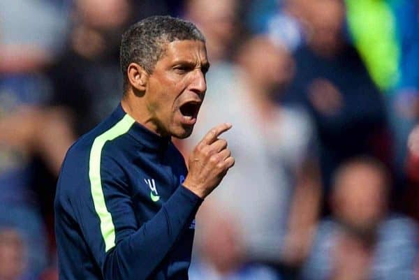 LIVERPOOL, ENGLAND - Sunday, May 13, 2018: Brighton & Hove Albion's manager Chris Hughton during the FA Premier League match between Liverpool FC and Brighton & Hove Albion FC at Anfield. (Pic by David Rawcliffe/Propaganda)