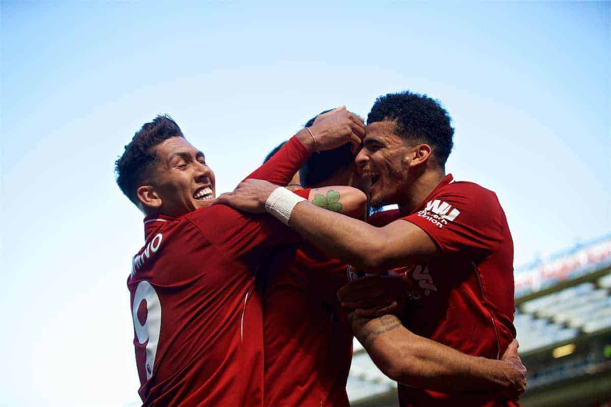 LIVERPOOL, ENGLAND - Sunday, May 13, 2018: Liverpool's Dejan Lovren celebrates scoring the second goal, with team-mates Roberto Firmino and Dominic Solanke, during the FA Premier League match between Liverpool FC and Brighton & Hove Albion FC at Anfield. Liverpool won 4-0 and finished 4th. (Pic by David Rawcliffe/Propaganda)