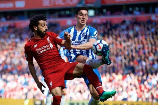 LIVERPOOL, ENGLAND - Sunday, May 13, 2018: Liverpool's Mohamed Salah and Brighton & Hove Albion's Lewis Dunk during the FA Premier League match between Liverpool FC and Brighton & Hove Albion FC at Anfield. (Pic by David Rawcliffe/Propaganda)