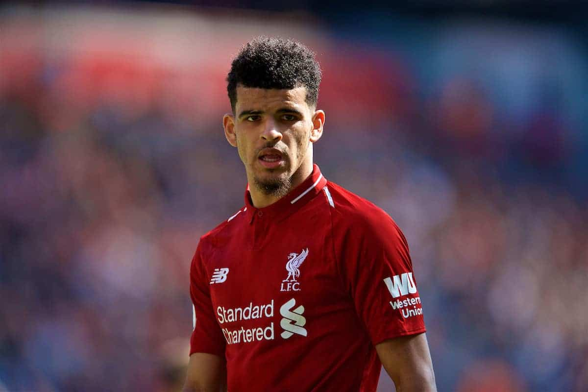LIVERPOOL, ENGLAND - Sunday, May 13, 2018: Liverpool's Dominic Solanke during the FA Premier League match between Liverpool FC and Brighton & Hove Albion FC at Anfield. (Pic by David Rawcliffe/Propaganda)