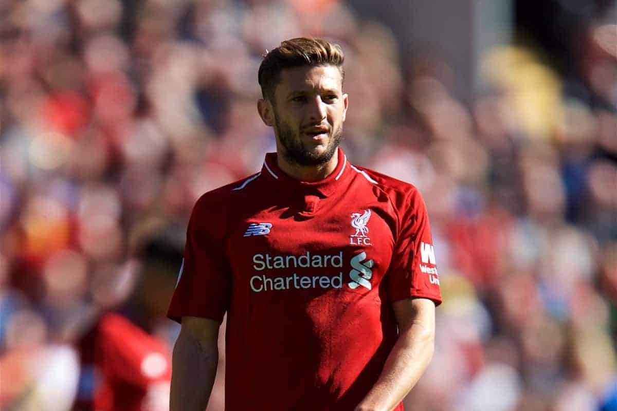 LIVERPOOL, ENGLAND - Sunday, May 13, 2018: Liverpool's Adam Lallana during the FA Premier League match between Liverpool FC and Brighton & Hove Albion FC at Anfield. (Pic by David Rawcliffe/Propaganda)