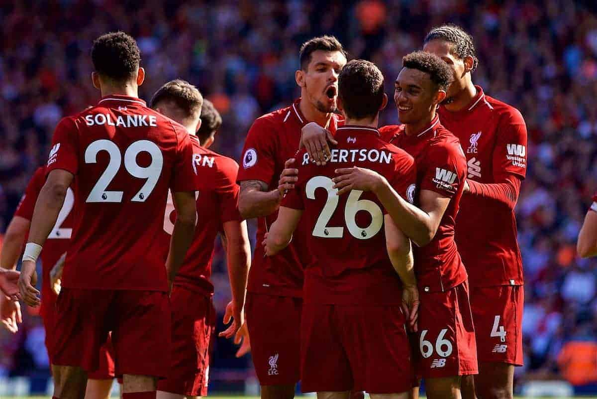 LIVERPOOL, ENGLAND - Sunday, May 13, 2018: Liverpool's Andy Robertson celebrates scoring the fourth goal, his first for the club, with team-mates Dejan Lovren and Trent Alexander-Arnold during the FA Premier League match between Liverpool FC and Brighton & Hove Albion FC at Anfield. Liverpool won 4-0 and finished the season 4th. (Pic by David Rawcliffe/Propaganda)