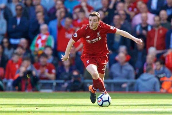 LIVERPOOL, ENGLAND - Sunday, May 13, 2018: Liverpool's Andy Robertson during the FA Premier League match between Liverpool FC and Brighton & Hove Albion FC at Anfield. (Pic by David Rawcliffe/Propaganda)
